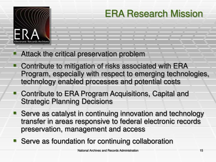 ERA Research Mission