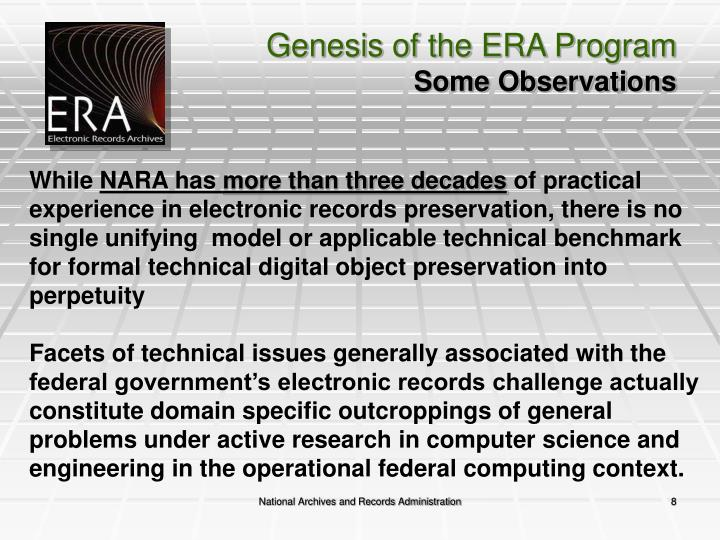 Genesis of the ERA Program