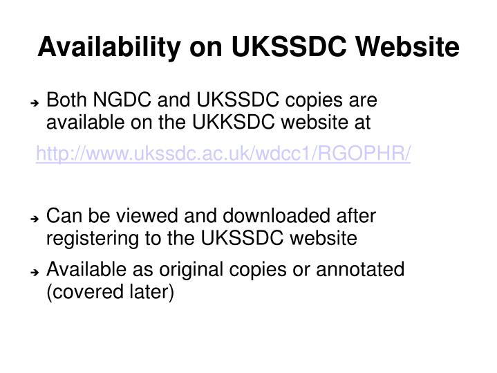 Availability on UKSSDC Website