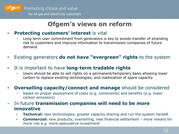 Ofgem's views on reform
