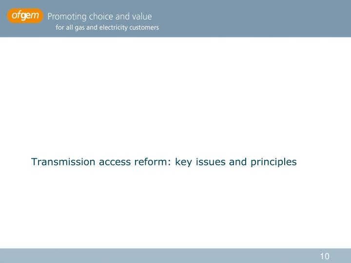 Transmission access reform: key issues and principles