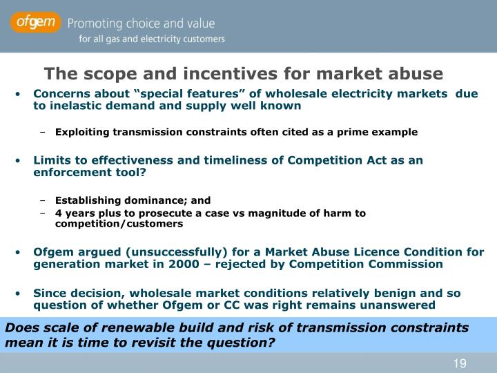 The scope and incentives for market abuse