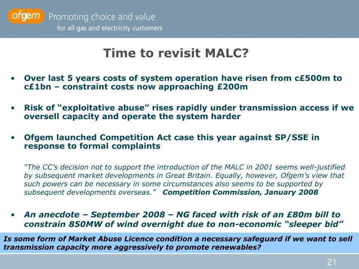 Time to revisit MALC?