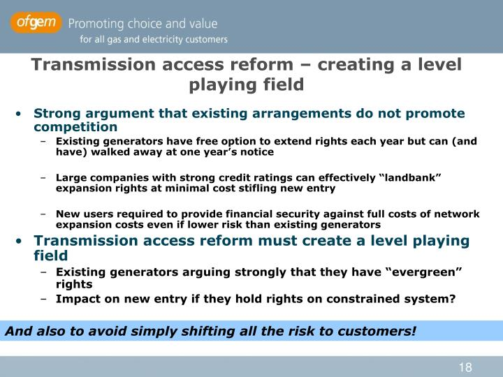 Transmission access reform – creating a level playing field