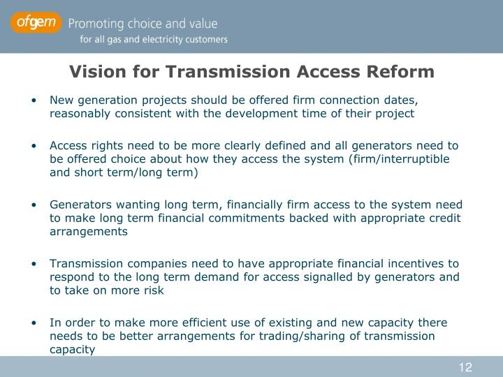 Vision for Transmission Access Reform