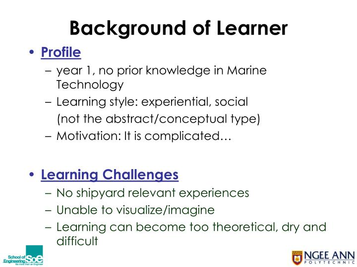 Background of learner