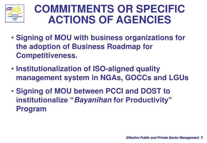 COMMITMENTS OR SPECIFIC ACTIONS OF AGENCIES