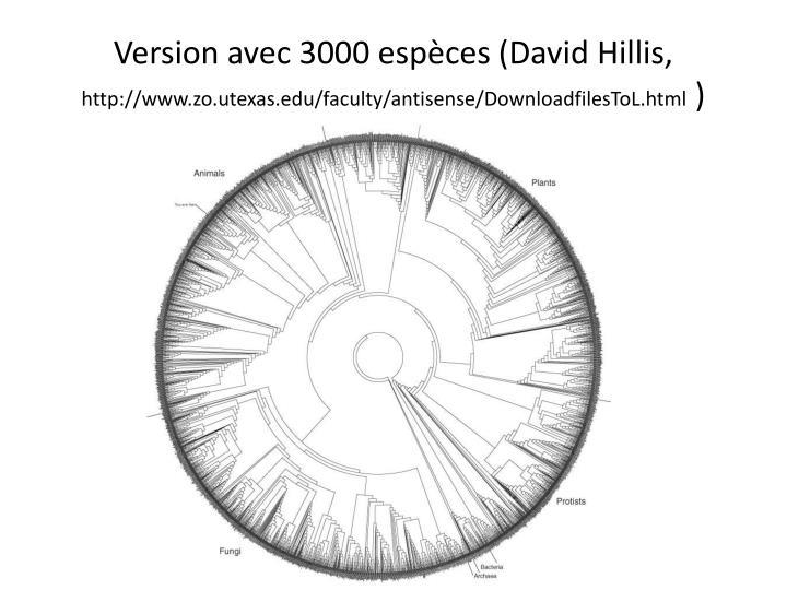 Version avec 3000 espèces (David Hillis,