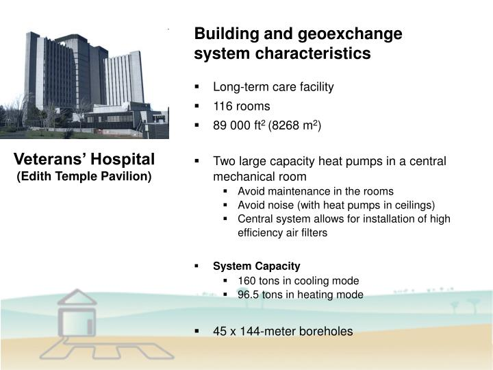 Building and geoexchange system characteristics