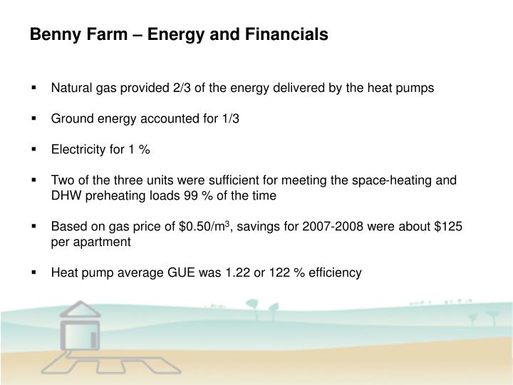 Benny Farm – Energy and Financials