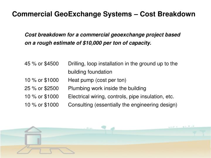 Commercial GeoExchange Systems – Cost Breakdown