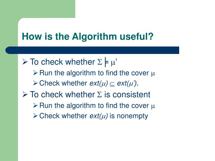 How is the Algorithm useful?