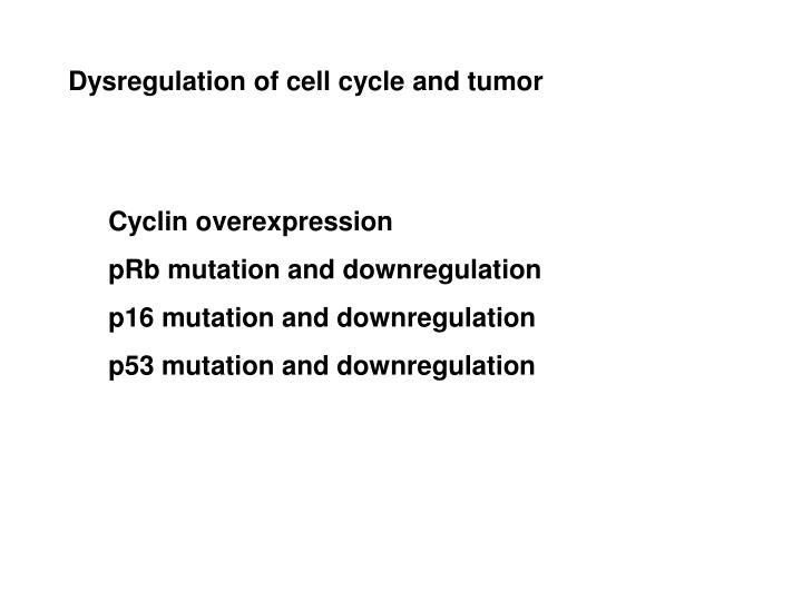 Dysregulation of cell cycle and tumor