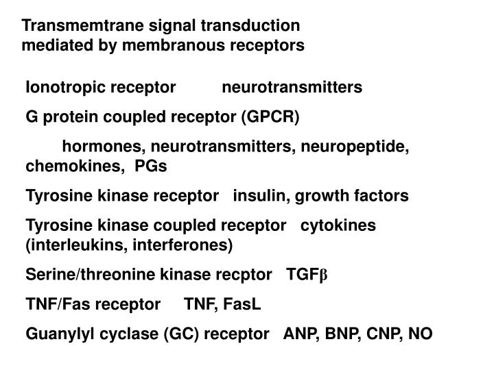 Transmemtrane signal transduction mediated by membranous receptors
