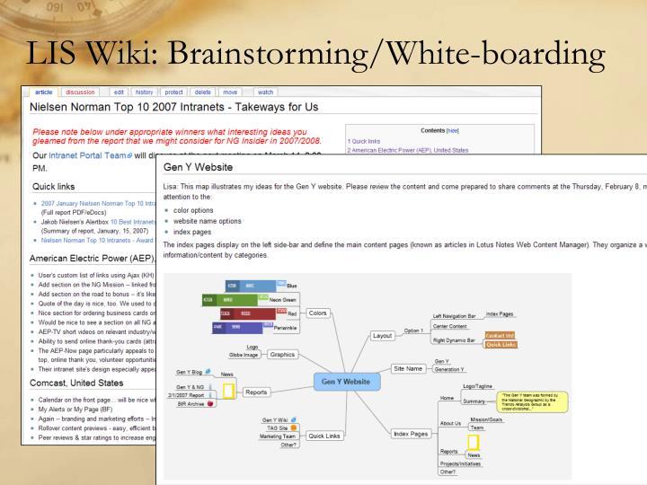 LIS Wiki: Brainstorming/White-boarding