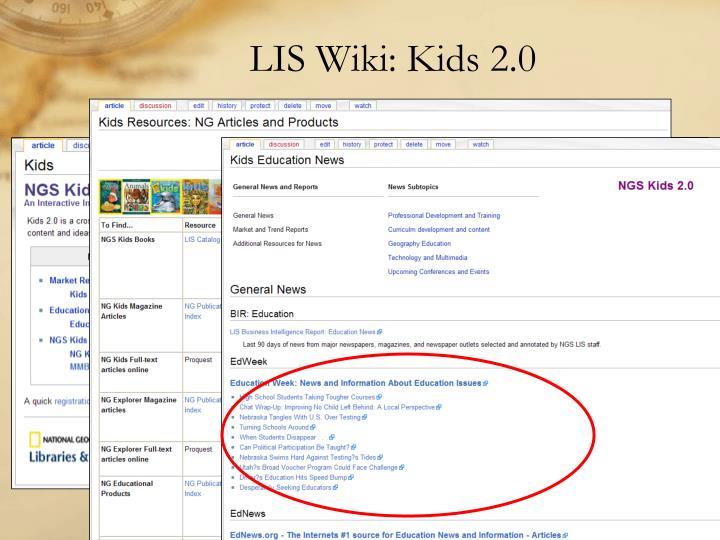 LIS Wiki: Kids 2.0