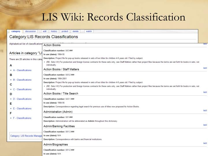 LIS Wiki: Records Classification