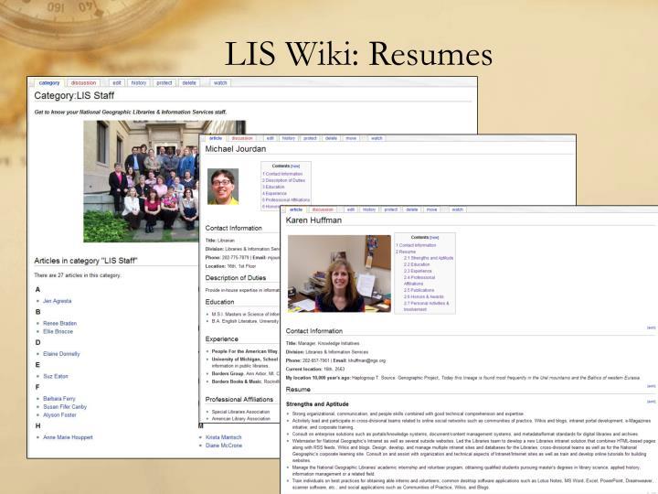 LIS Wiki: Resumes