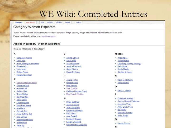 WE Wiki: Completed Entries