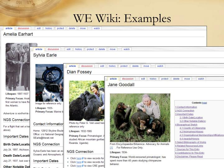 WE Wiki: Examples
