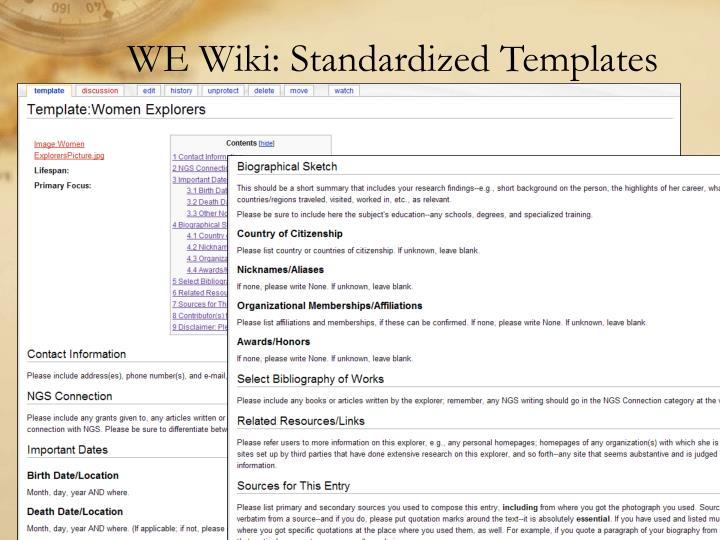 WE Wiki: Standardized Templates