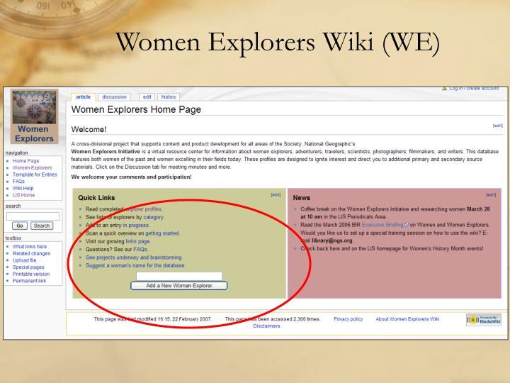 Women Explorers Wiki (WE)