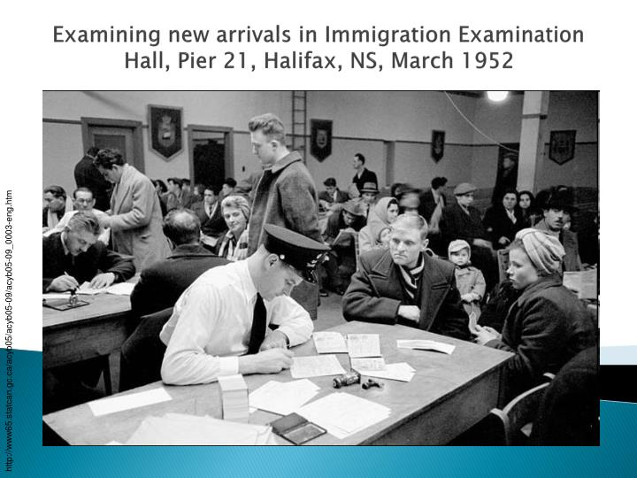 Examining new arrivals in Immigration Examination Hall, Pier 21, Halifax, NS, March 1952
