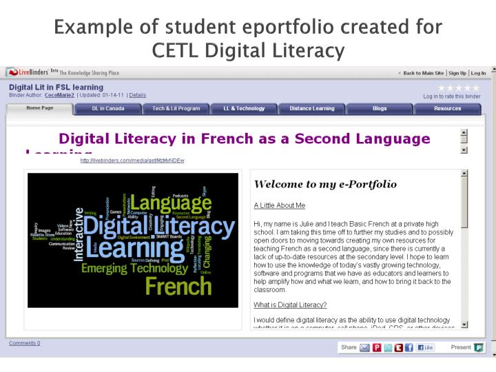 Example of student eportfolio created for CETL Digital Literacy