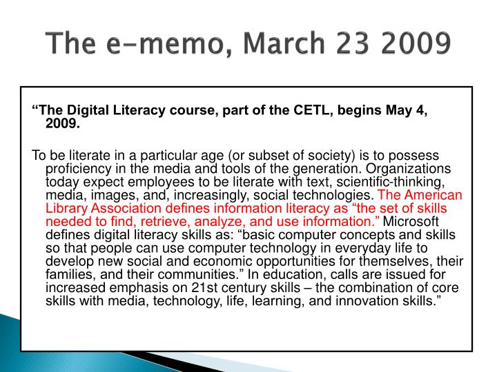 The e-memo, March 23 2009