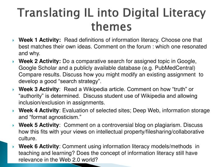 Translating IL into Digital Literacy themes