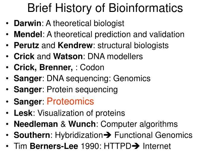 Brief History of Bioinformatics