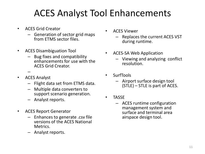 ACES Analyst Tool Enhancements