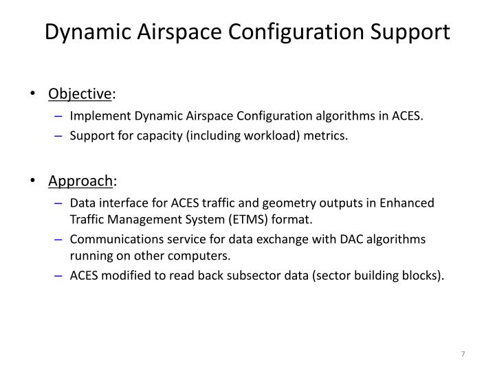 Dynamic Airspace Configuration Support