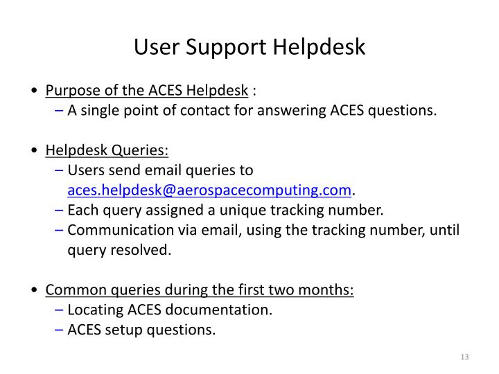User Support Helpdesk