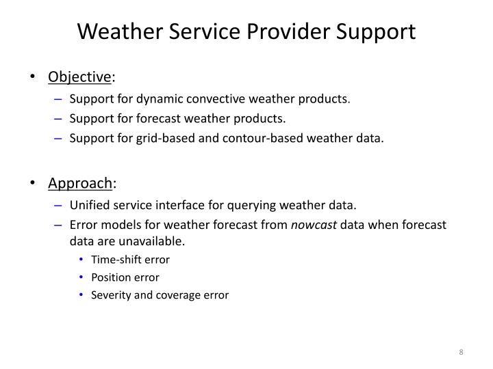 Weather Service Provider Support