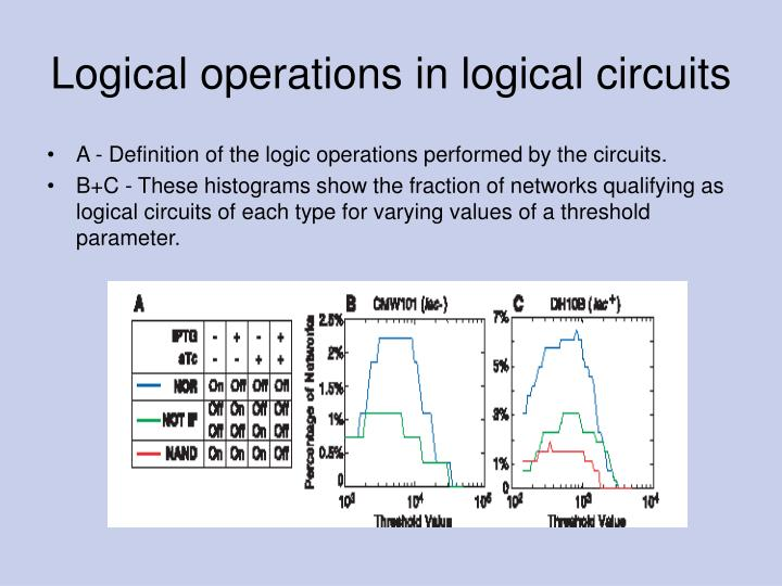 Logical operations in logical circuits