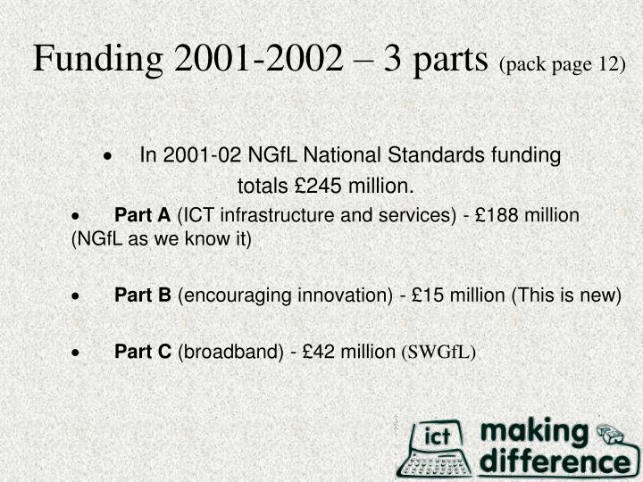 Funding 2001-2002 – 3 parts