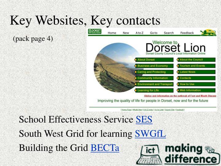 Key Websites, Key contacts