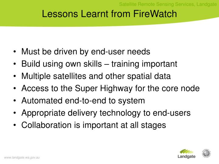 Lessons learnt from firewatch