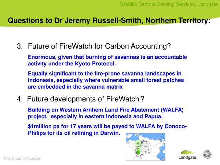 Questions to Dr Jeremy Russell-Smith, Northern Territory: