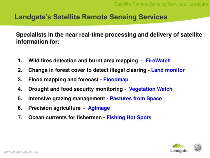 Landgate's Satellite Remote Sensing Services
