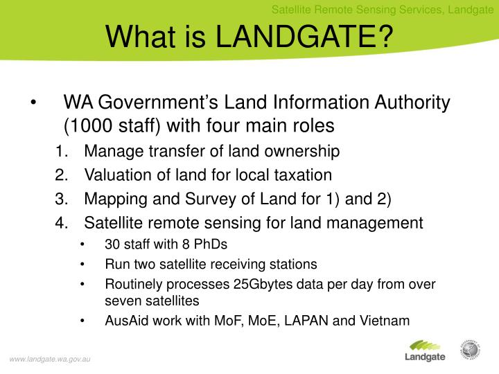 WA Government's Land Information Authority (1000 staff) with four main roles