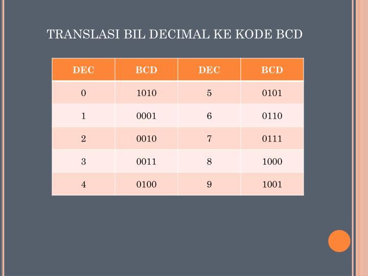 TRANSLASI BIL DECIMAL KE KODE BCD