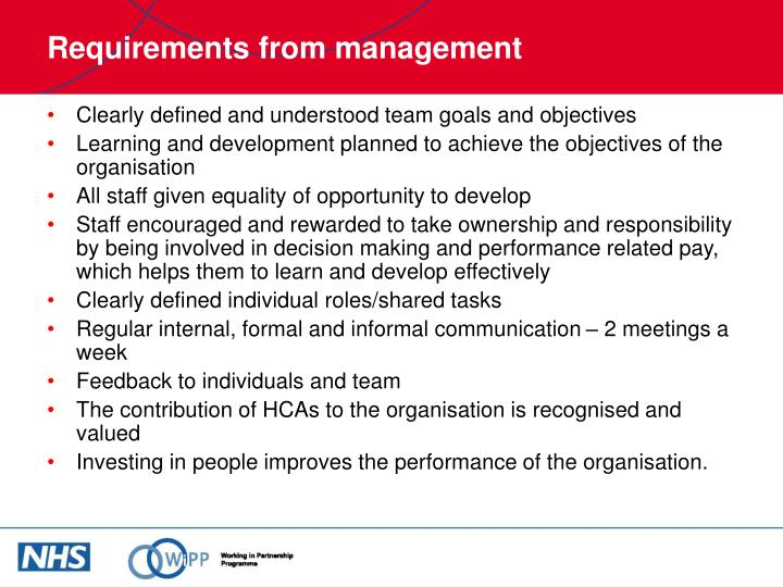 Requirements from management