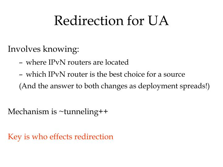 Redirection for UA