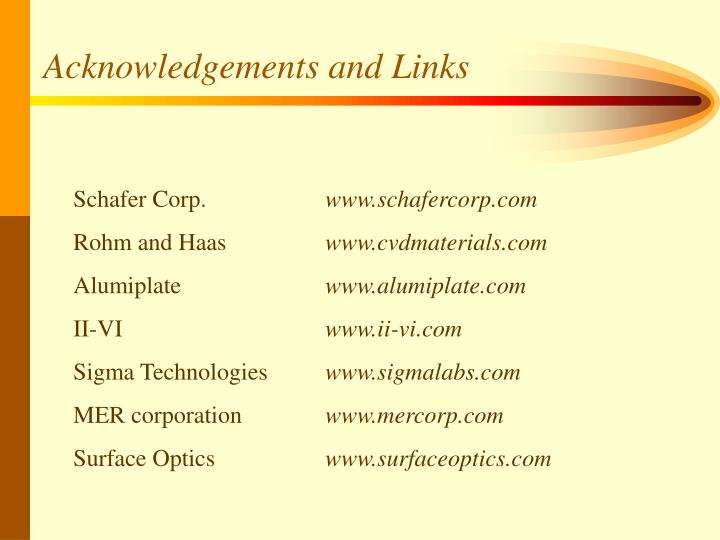 Acknowledgements and Links