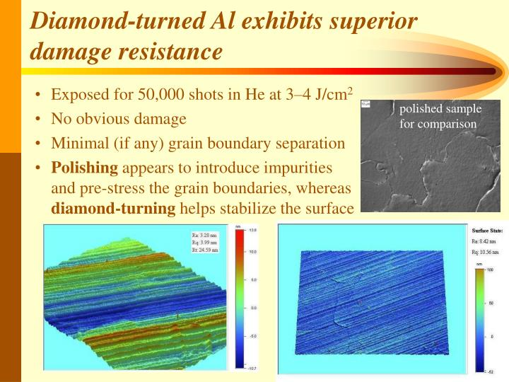 Diamond-turned Al exhibits superior damage resistance