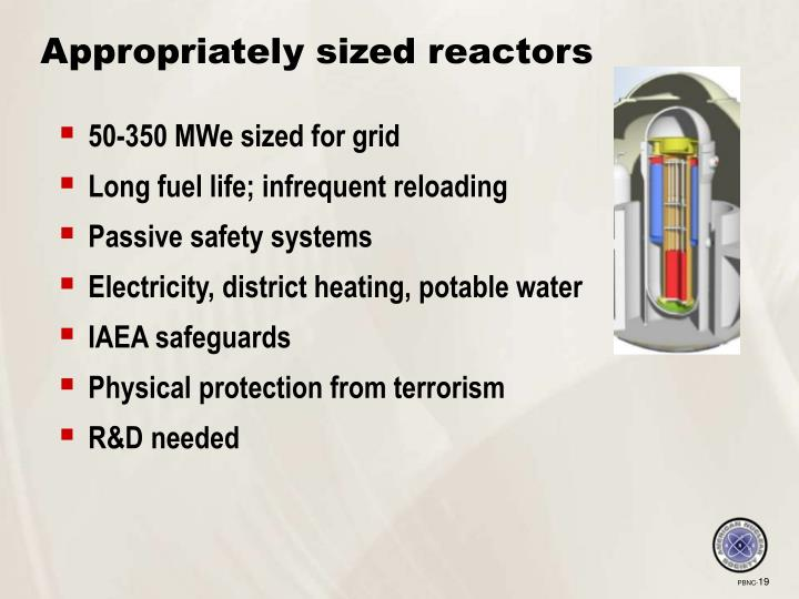 Appropriately sized reactors