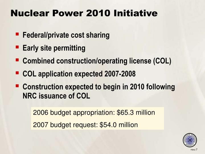Nuclear Power 2010 Initiative