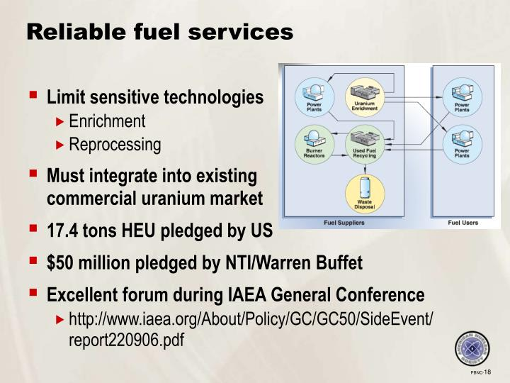 Reliable fuel services